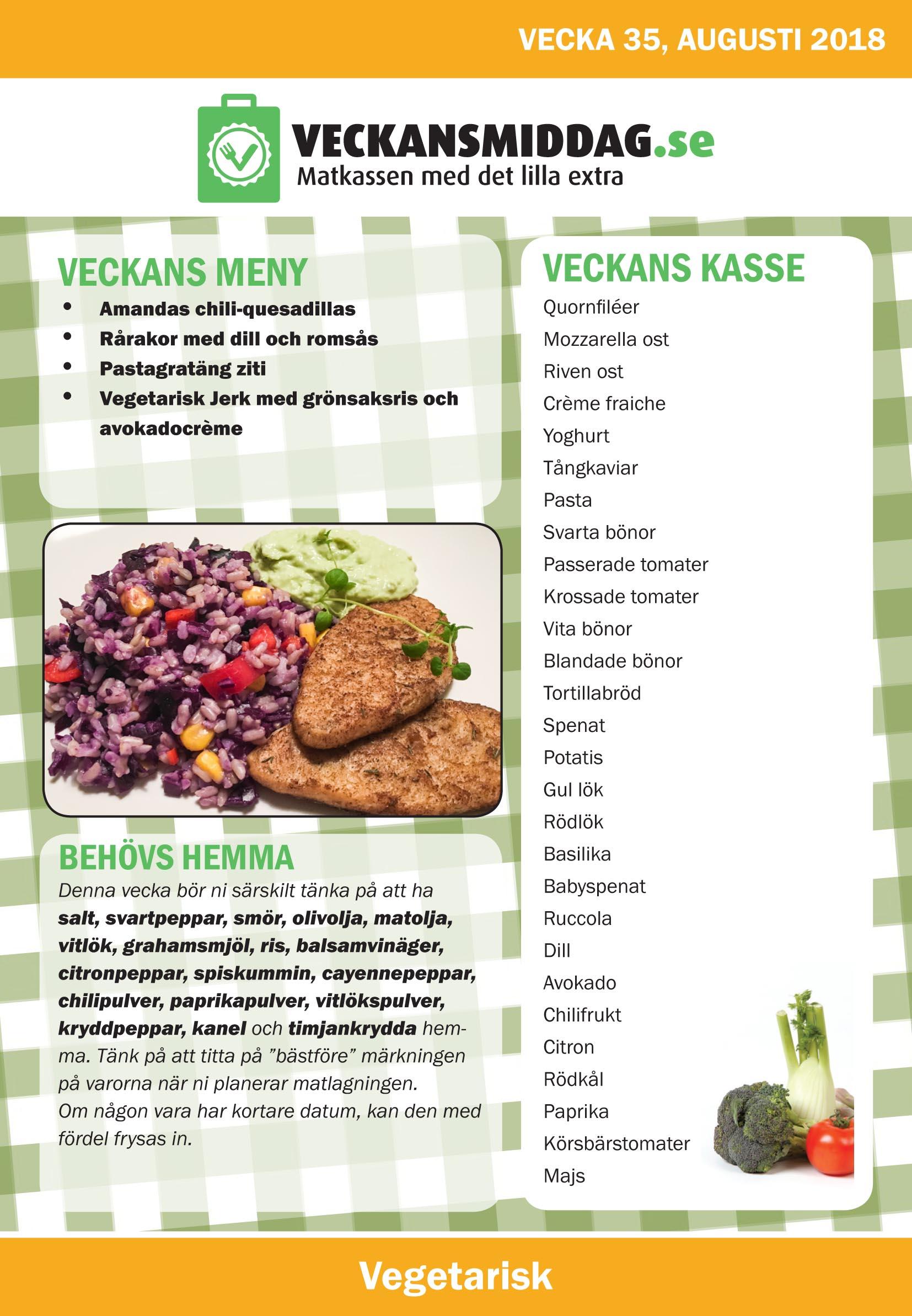 veckans vegetariska meny